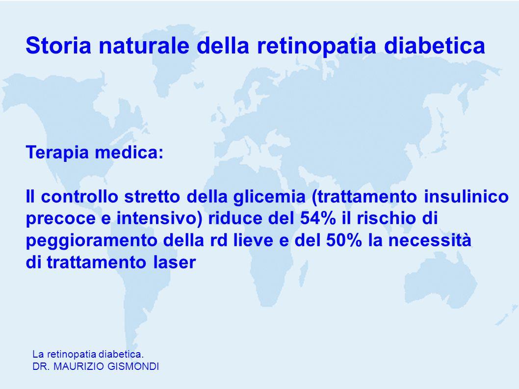 Storia naturale della retinopatia diabetica La retinopatia diabetica. DR. MAURIZIO GISMONDI Terapia medica: Il controllo stretto della glicemia (tratt