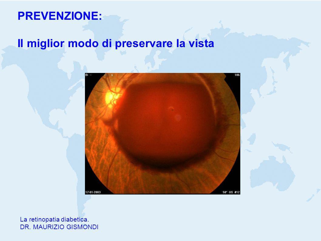 La retinopatia diabetica. DR. MAURIZIO GISMONDI PREVENZIONE: Il miglior modo di preservare la vista