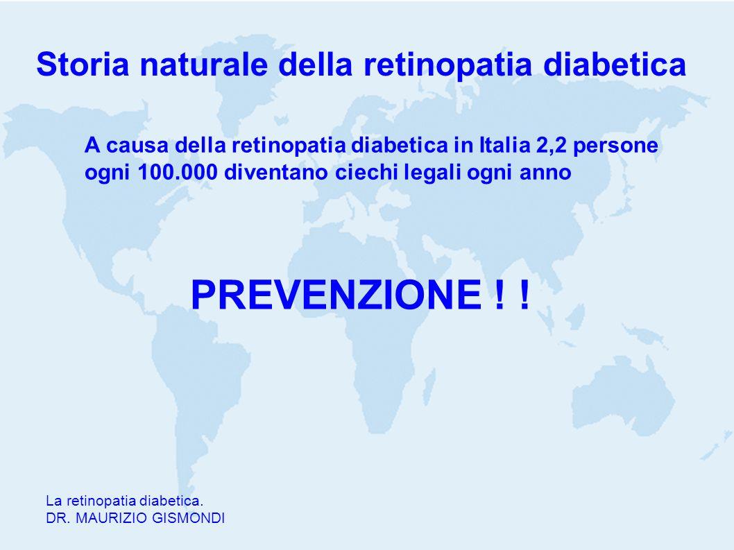 Storia naturale della retinopatia diabetica La retinopatia diabetica. DR. MAURIZIO GISMONDI A causa della retinopatia diabetica in Italia 2,2 persone