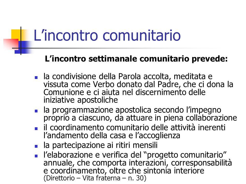 L'incontro comunitario L'incontro settimanale comunitario prevede: la condivisione della Parola accolta, meditata e vissuta come Verbo donato dal Padr