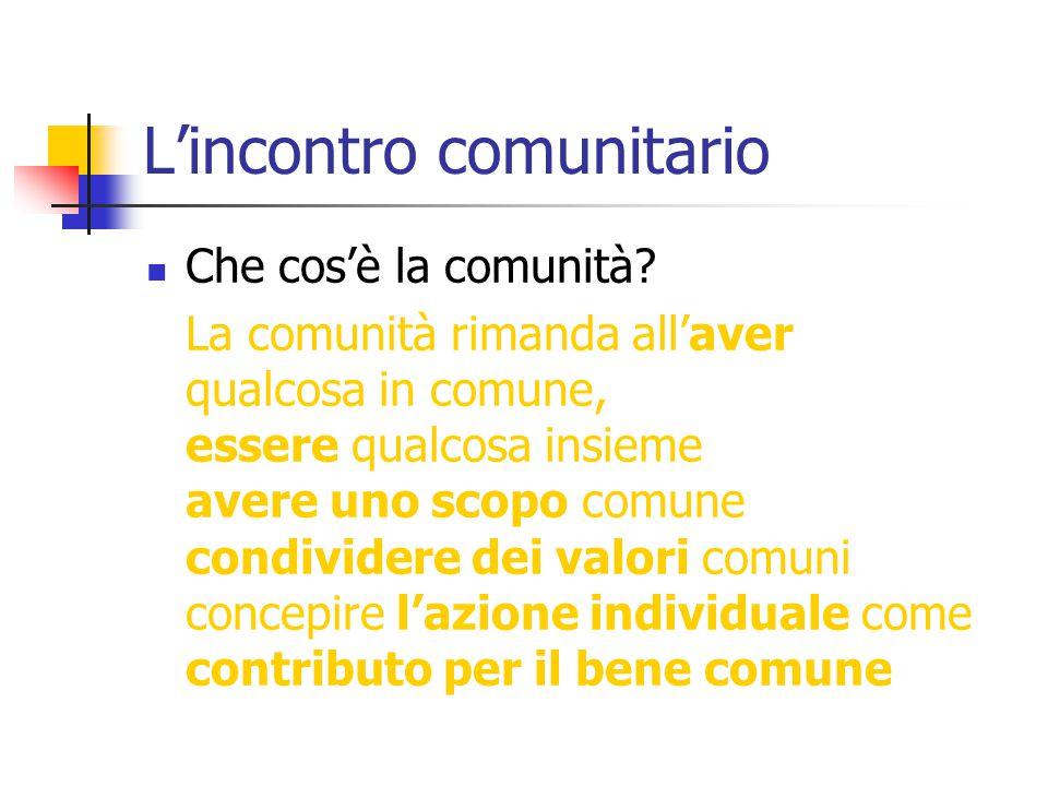 L'incontro comunitario Che cos'è la comunità? La comunità rimanda all'aver qualcosa in comune, essere qualcosa insieme avere uno scopo comune condivid