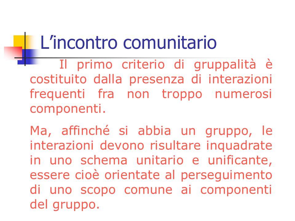 L'incontro comunitario Il primo criterio di gruppalità è costituito dalla presenza di interazioni frequenti fra non troppo numerosi componenti. Ma, af