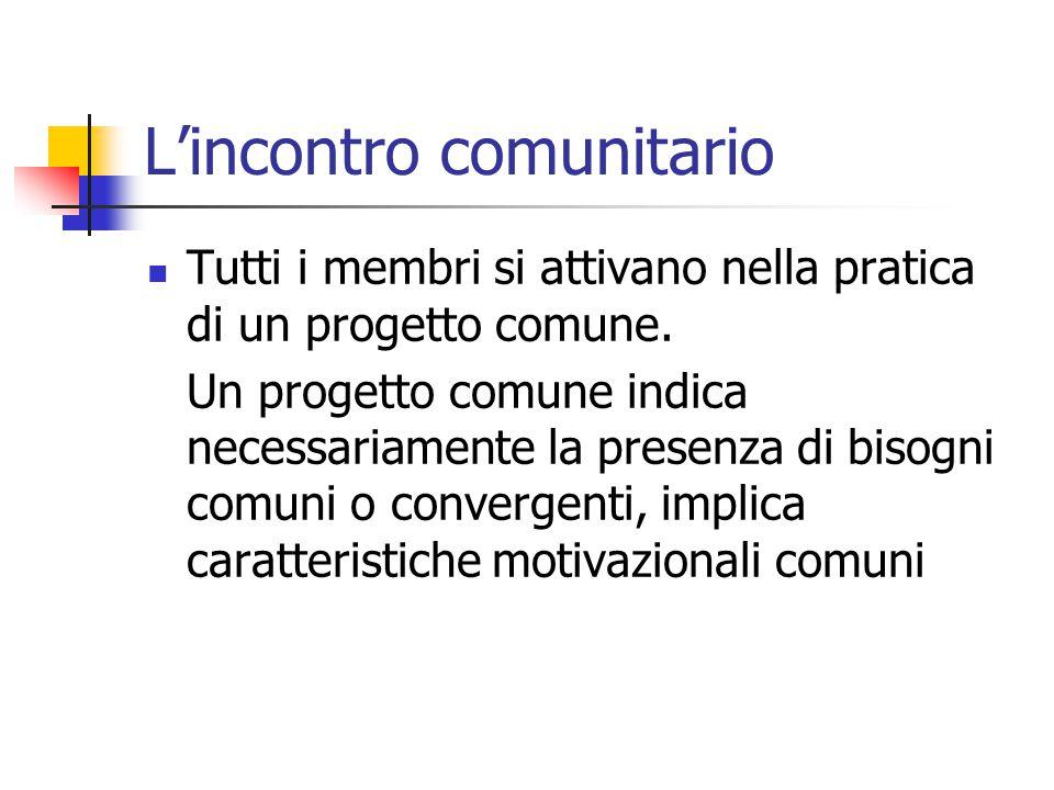 L'incontro comunitario Tutti i membri si attivano nella pratica di un progetto comune. Un progetto comune indica necessariamente la presenza di bisogn