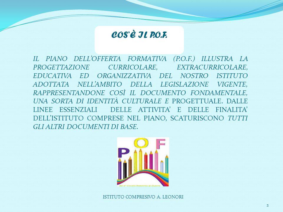ISTITUTO COMPRESIVO A. LEONORI 2 IL PIANO DELL'OFFERTA FORMATIVA (P.O.F.) ILLUSTRA LA PROGETTAZIONE CURRICOLARE, EXTRACURRICOLARE, EDUCATIVA ED ORGANI