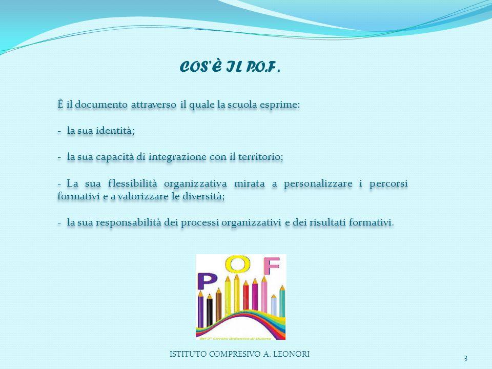 ISTITUTO COMPRESIVO A. LEONORI 3 È il documento attraverso il quale la scuola esprime: - la sua identità; - la sua capacità di integrazione con il ter