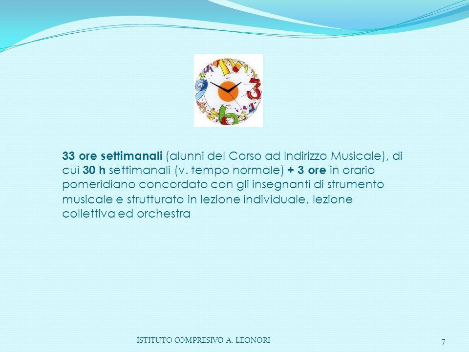ISTITUTO COMPRESIVO A. LEONORI7 33 ore settimanali (alunni del Corso ad Indirizzo Musicale), di cui 30 h settimanali (v. tempo normale) + 3 ore in ora