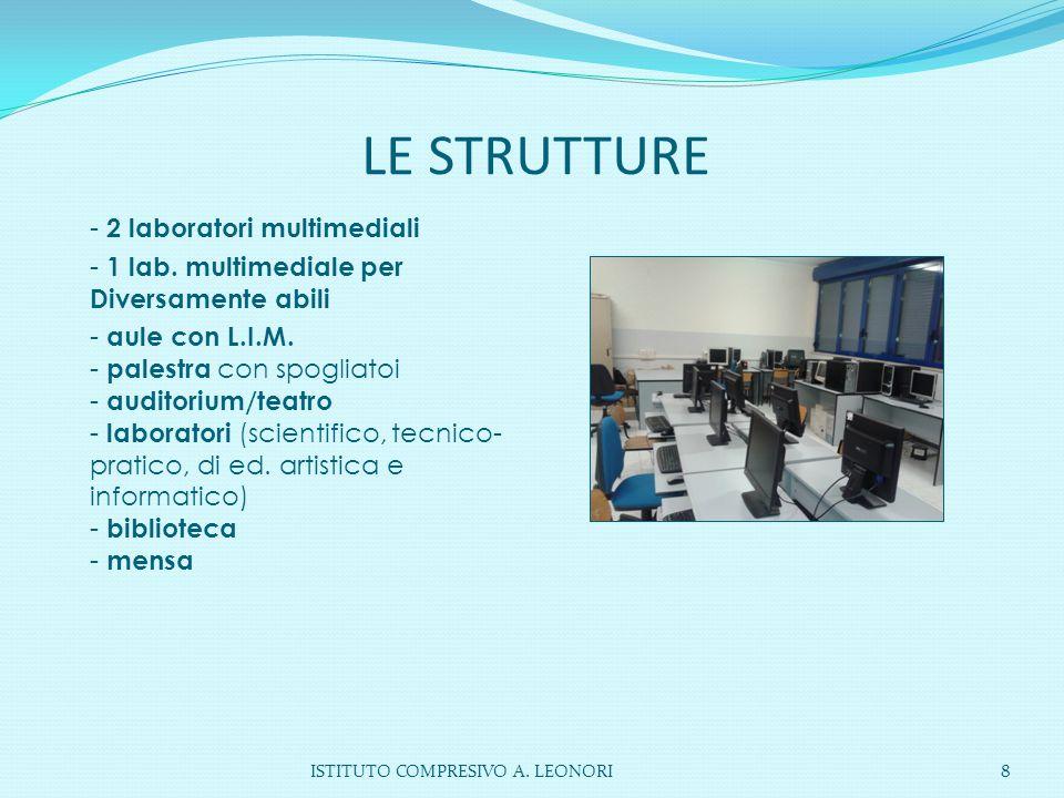 LE STRUTTURE ISTITUTO COMPRESIVO A. LEONORI8 - 2 laboratori multimediali - 1 lab. multimediale per Diversamente abili - aule con L.I.M. - palestra con