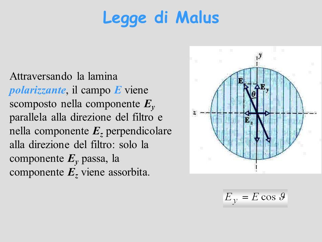 Attraversando la lamina polarizzante, il campo E viene scomposto nella componente E y parallela alla direzione del filtro e nella componente E z perpendicolare alla direzione del filtro: solo la componente E y passa, la componente E z viene assorbita.