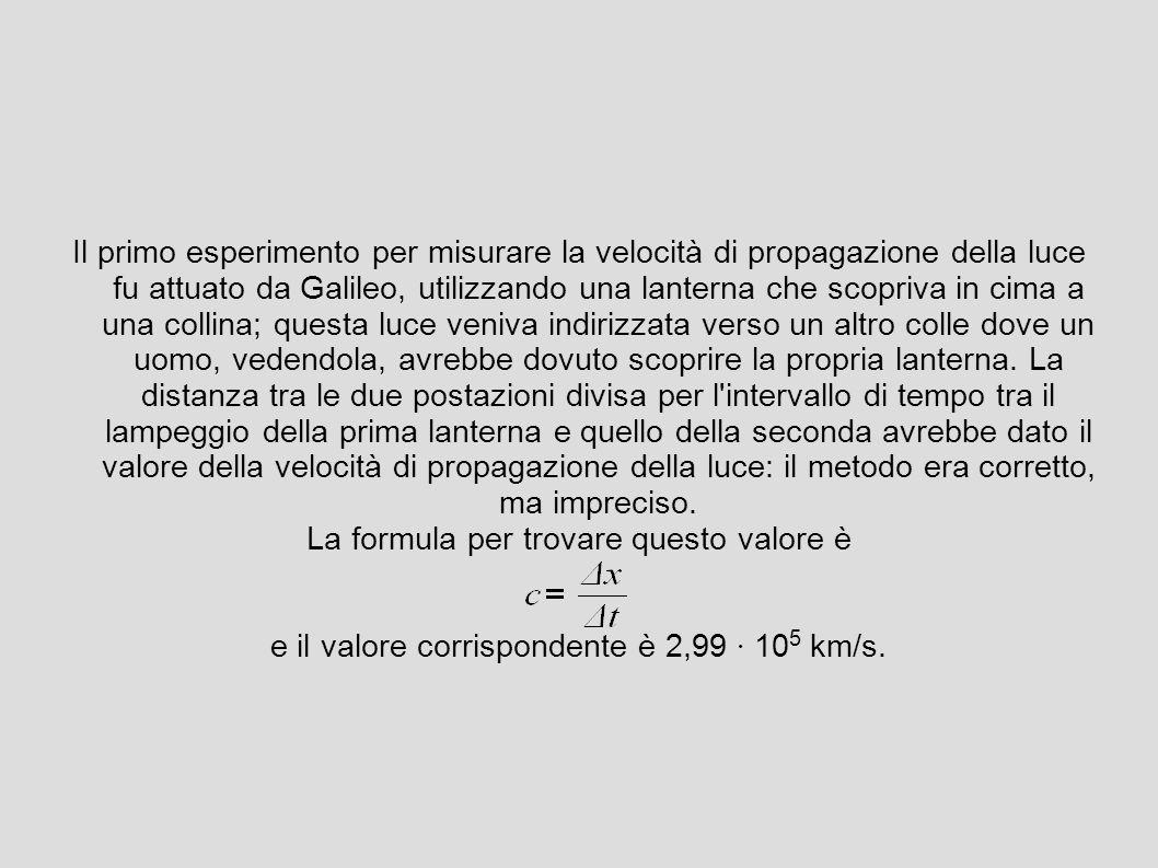 Il primo esperimento per misurare la velocità di propagazione della luce fu attuato da Galileo, utilizzando una lanterna che scopriva in cima a una collina; questa luce veniva indirizzata verso un altro colle dove un uomo, vedendola, avrebbe dovuto scoprire la propria lanterna.