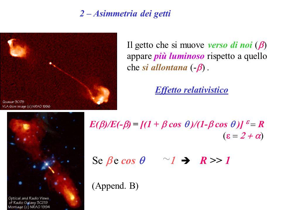 2 – Asimmetria dei getti Il getto che si muove verso di noi (  ) appare più luminoso rispetto a quello che si allontana (-  ). Effetto relativistico