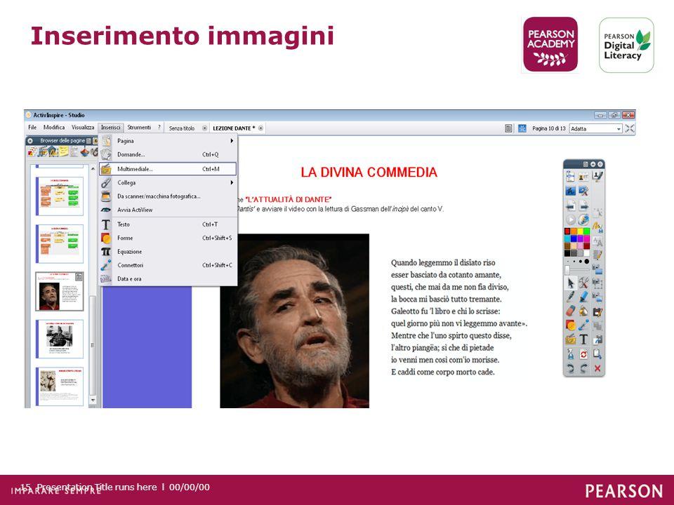 Presentation Title runs here l 00/00/0015 Inserimento immagini