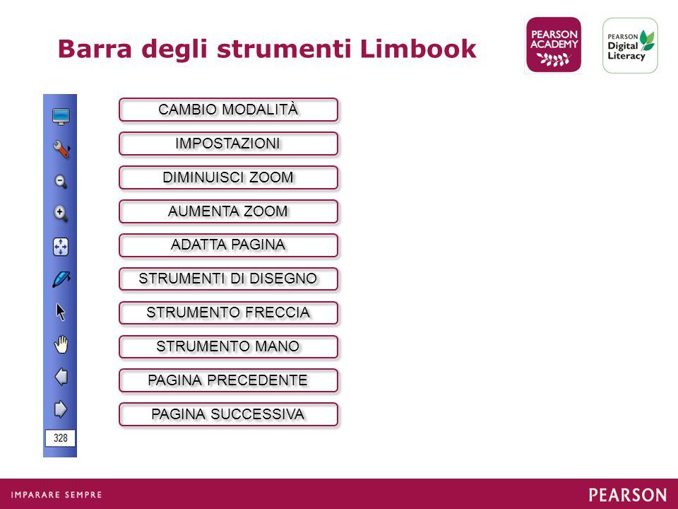 Barra degli strumenti Limbook CAMBIO MODALITÀ IMPOSTAZIONI DIMINUISCI ZOOM AUMENTA ZOOM STRUMENTO FRECCIA STRUMENTO MANO PAGINA SUCCESSIVA PAGINA PRECEDENTE STRUMENTI DI DISEGNO ADATTA PAGINA