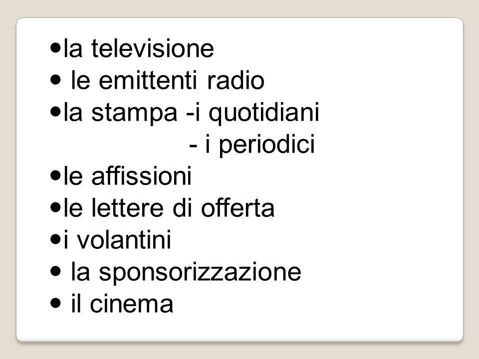 la televisione le emittenti radio la stampa -i quotidiani - i periodici le affissioni le lettere di offerta i volantini la sponsorizzazione il cinema