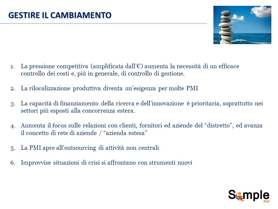 GESTIRE IL CAMBIAMENTO 1.La pressione competitiva (amplificata dall'€) aumenta la necessità di un efficace controllo dei costi e, più in generale, di controllo di gestione.