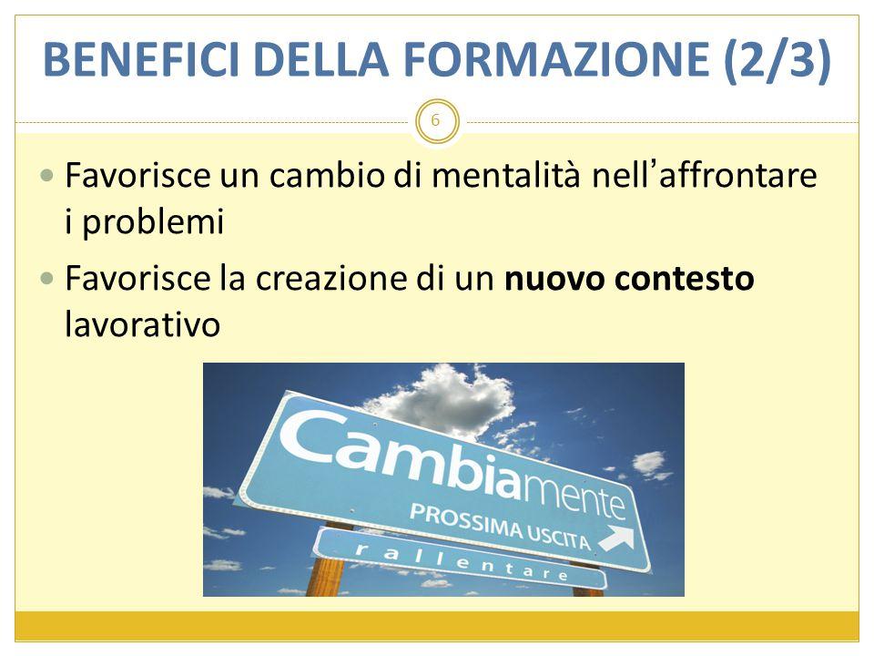BENEFICI DELLA FORMAZIONE (2/3) Favorisce un cambio di mentalità nell'affrontare i problemi Favorisce la creazione di un nuovo contesto lavorativo 6