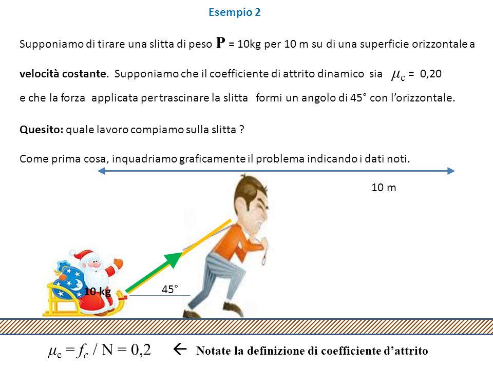 Esempio 2 Supponiamo di tirare una slitta di peso P = 10kg per 10 m su di una superficie orizzontale a velocità costante.