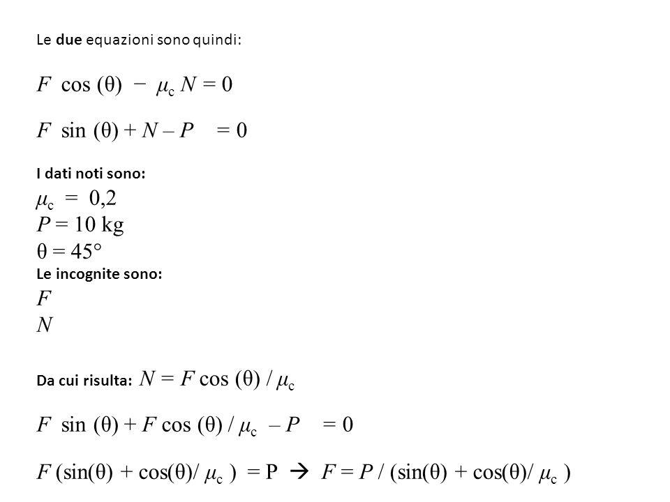 Le due equazioni sono quindi: F cos (θ) − μ c N = 0 F sin (θ) + N – P = 0 I dati noti sono: μ c = 0,2 P = 10 kg θ = 45° Le incognite sono: F N Da cui risulta: N = F cos (θ) / μ c F sin (θ) + F cos (θ) / μ c – P = 0 F (sin(θ) + cos(θ)/ μ c ) = P  F = P / (sin(θ) + cos(θ)/ μ c )
