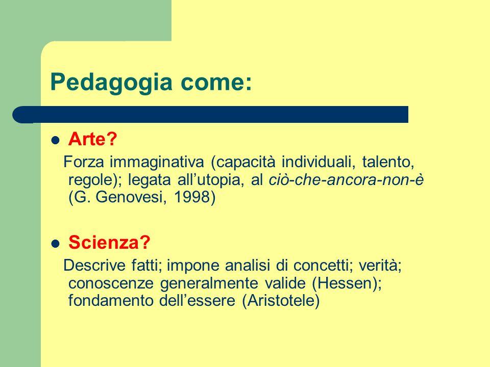 Pedagogia come: Arte? Forza immaginativa (capacità individuali, talento, regole); legata all'utopia, al ciò-che-ancora-non-è (G. Genovesi, 1998) Scien