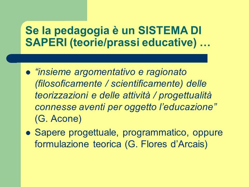 """Se la pedagogia è un SISTEMA DI SAPERI (teorie/prassi educative) … """"insieme argomentativo e ragionato (filosoficamente / scientificamente) delle teori"""