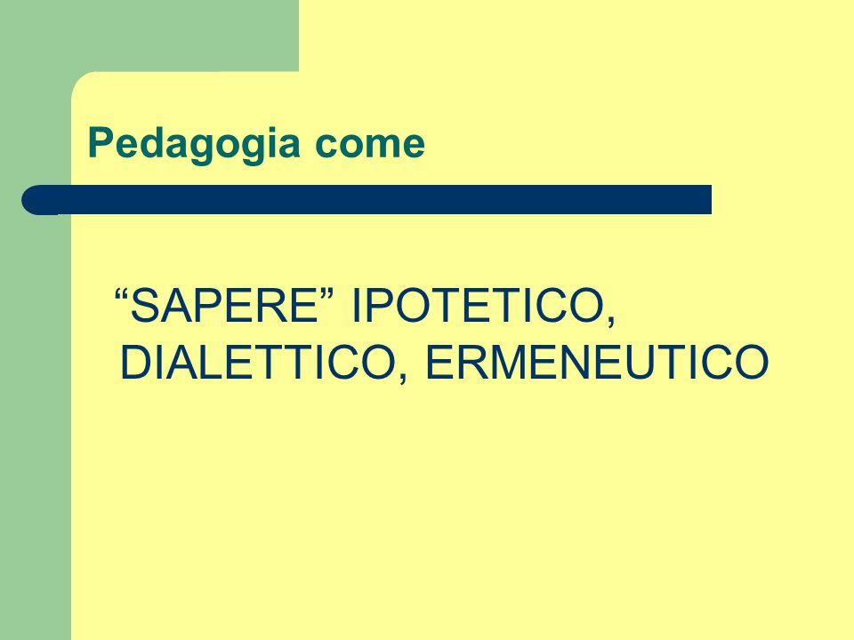 """Pedagogia come """"SAPERE"""" IPOTETICO, DIALETTICO, ERMENEUTICO"""