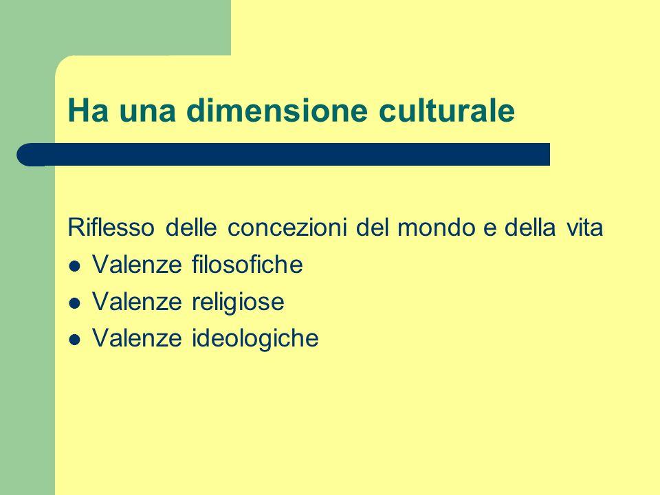 Ha una dimensione culturale Riflesso delle concezioni del mondo e della vita Valenze filosofiche Valenze religiose Valenze ideologiche