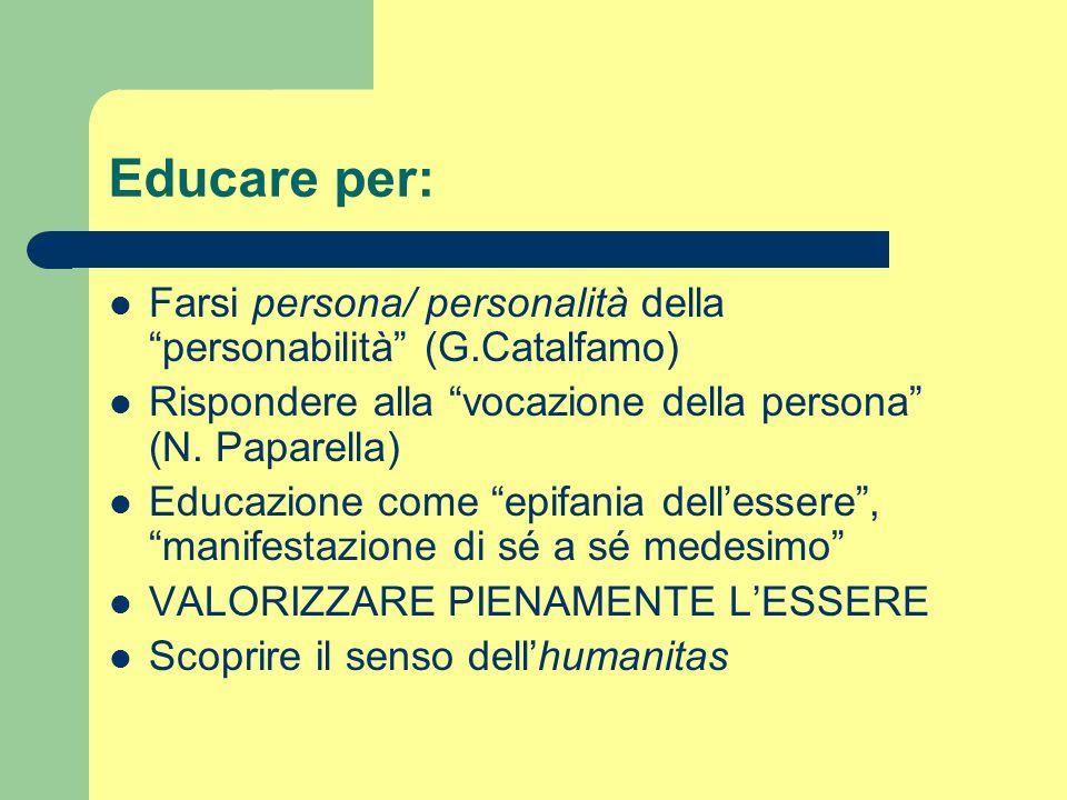 """Educare per: Farsi persona/ personalità della """"personabilità"""" (G.Catalfamo) Rispondere alla """"vocazione della persona"""" (N. Paparella) Educazione come """""""