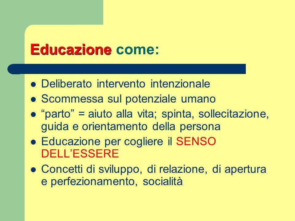 """Educazione Educazione come: Deliberato intervento intenzionale Scommessa sul potenziale umano """"parto"""" = aiuto alla vita; spinta, sollecitazione, guida"""