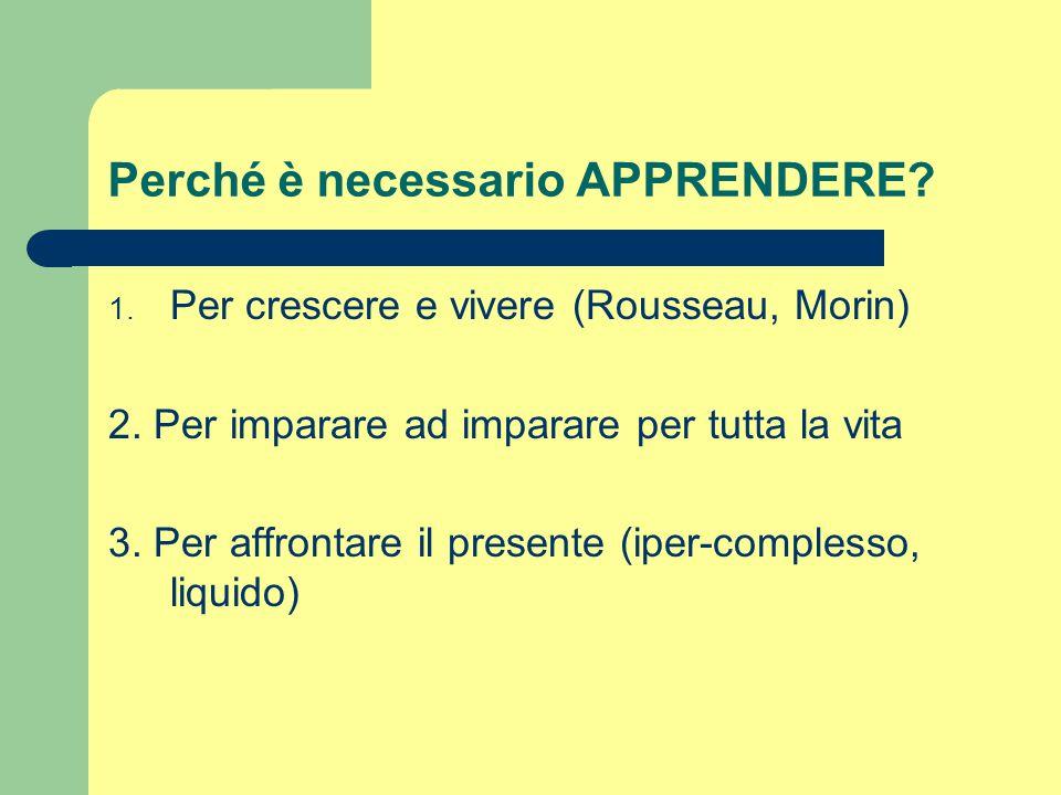 Perché è necessario APPRENDERE? 1. Per crescere e vivere (Rousseau, Morin) 2. Per imparare ad imparare per tutta la vita 3. Per affrontare il presente