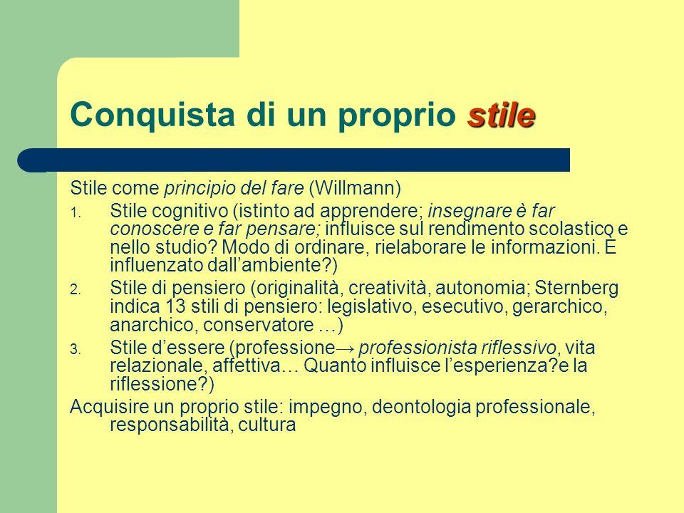 stile Conquista di un proprio stile Stile come principio del fare (Willmann) 1. Stile cognitivo (istinto ad apprendere; insegnare è far conoscere e fa