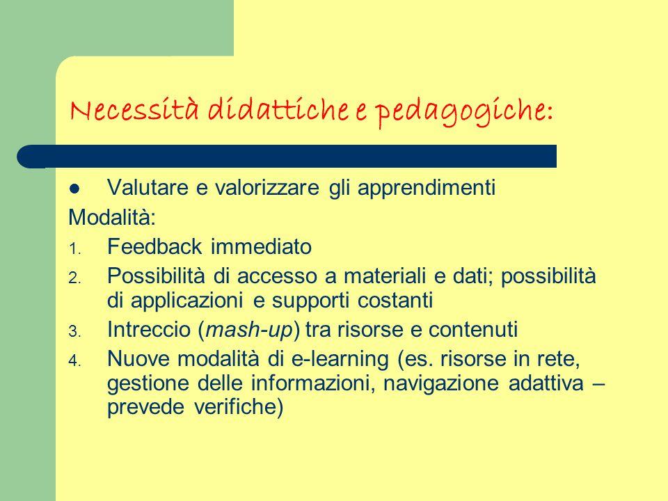 Necessità didattiche e pedagogiche: Valutare e valorizzare gli apprendimenti Modalità: 1. Feedback immediato 2. Possibilità di accesso a materiali e d