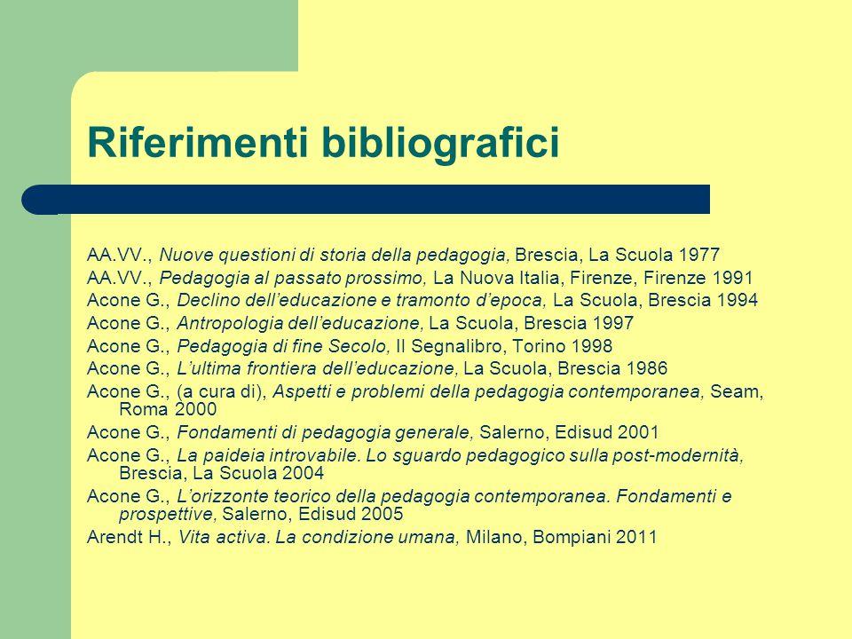 Riferimenti bibliografici AA.VV., Nuove questioni di storia della pedagogia, Brescia, La Scuola 1977 AA.VV., Pedagogia al passato prossimo, La Nuova I