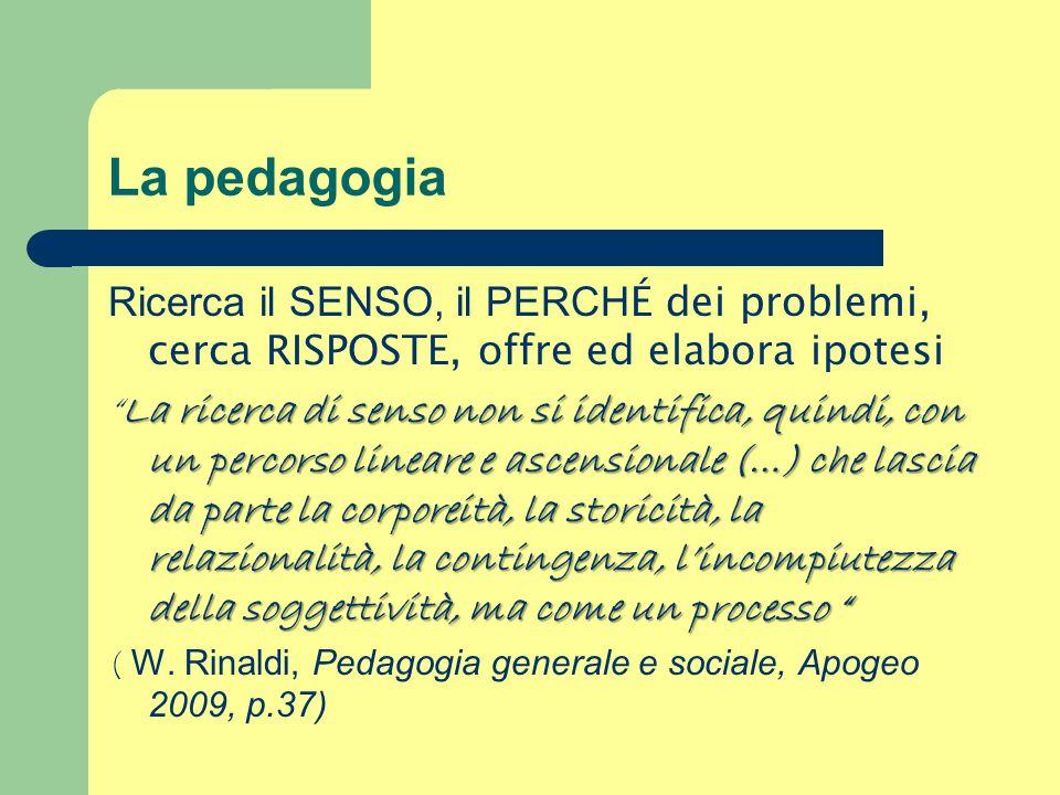 La pedagogia Ricerca il SENSO, il PERCH É dei problemi, cerca RISPOSTE, offre ed elabora ipotesi La ricerca di senso non si identifica, quindi, con un