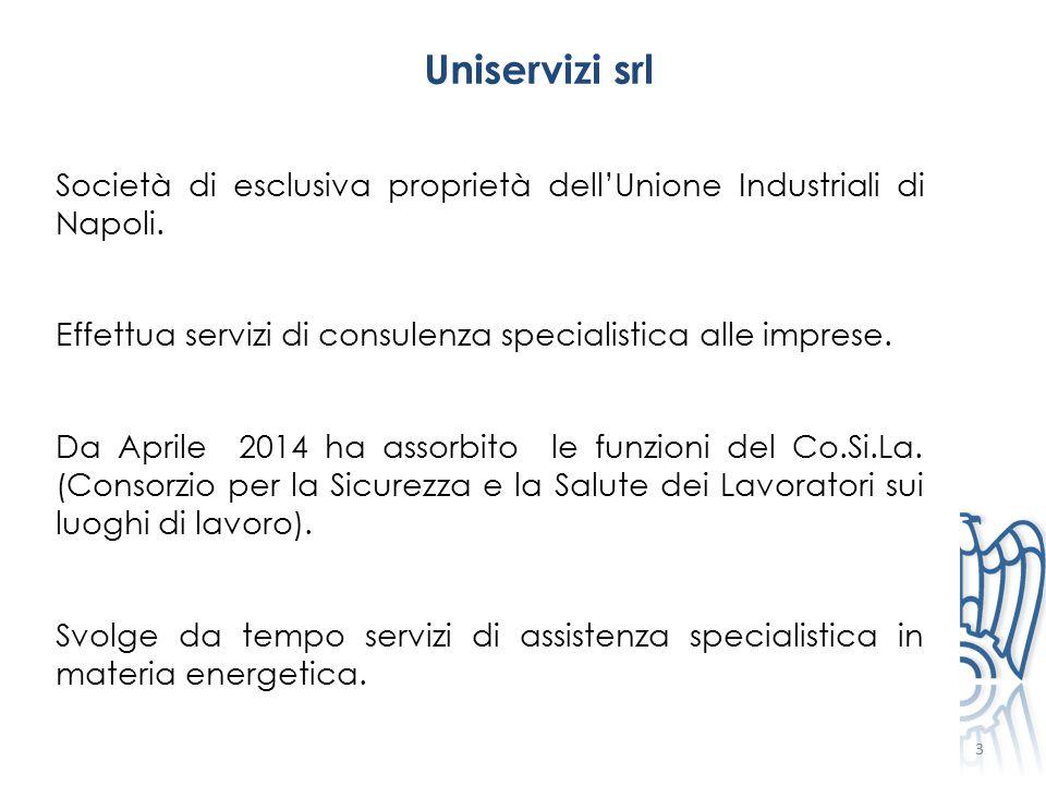 3 Uniservizi srl Società di esclusiva proprietà dell'Unione Industriali di Napoli. Effettua servizi di consulenza specialistica alle imprese. Da April