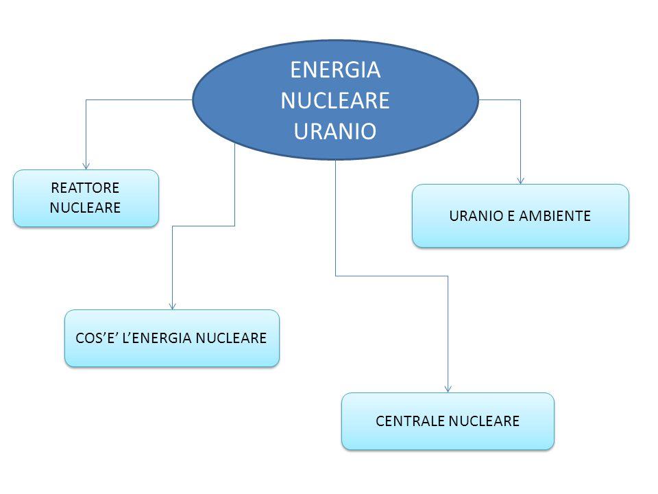 ENERGIA NUCLEARE URANIO CENTRALE NUCLEARE REATTORE NUCLEARE COS'E' L'ENERGIA NUCLEARE URANIO E AMBIENTE