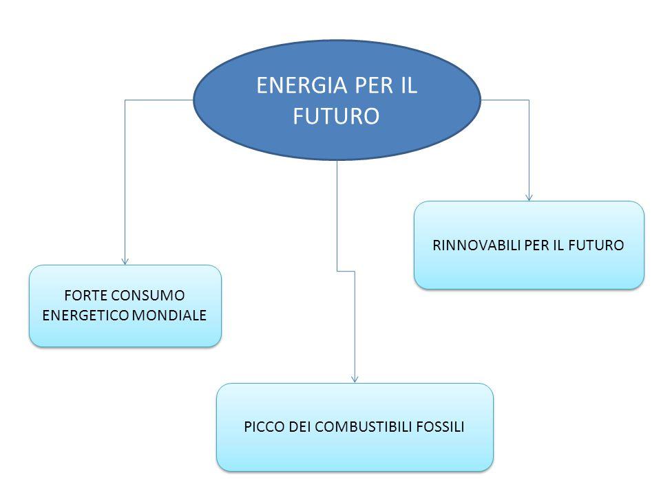 ENERGIA PER IL FUTURO RINNOVABILI PER IL FUTURO FORTE CONSUMO ENERGETICO MONDIALE PICCO DEI COMBUSTIBILI FOSSILI