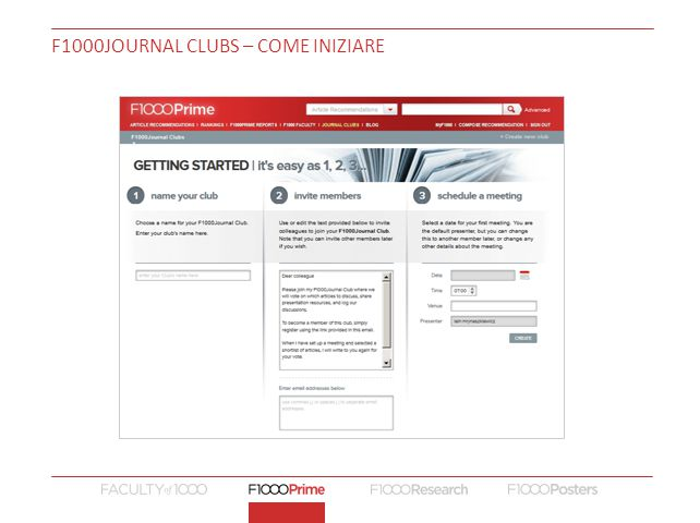 F1000JOURNAL CLUBS – COME INIZIARE