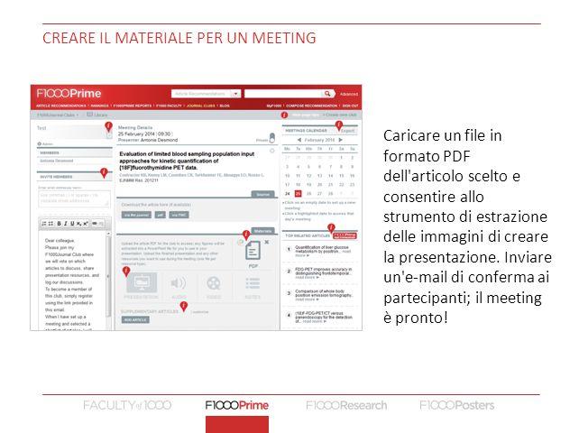 CREARE IL MATERIALE PER UN MEETING Cambiare lunedì Caricare un file in formato PDF dell articolo scelto e consentire allo strumento di estrazione delle immagini di creare la presentazione.
