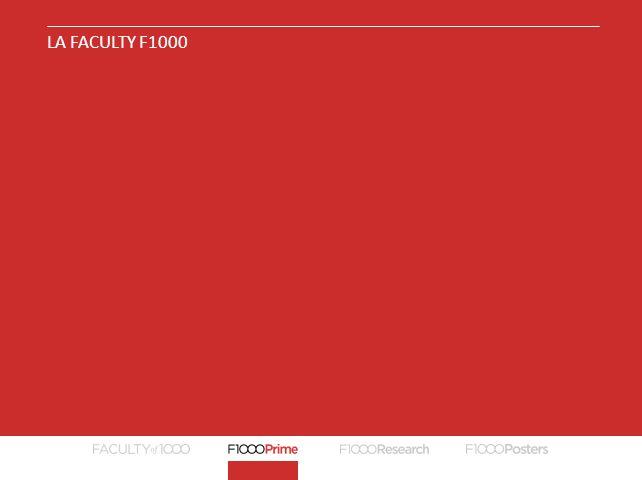 F1000PRIME – RACCOMANDAZIONE DI UN ARTICOLO