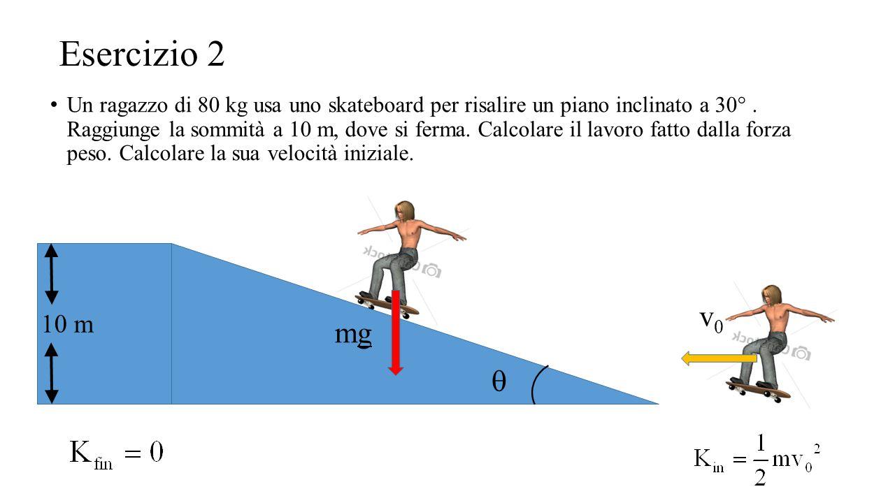 Un ragazzo di 80 kg usa uno skateboard per risalire un piano inclinato a 30°. Raggiunge la sommità a 10 m, dove si ferma. Calcolare il lavoro fatto da