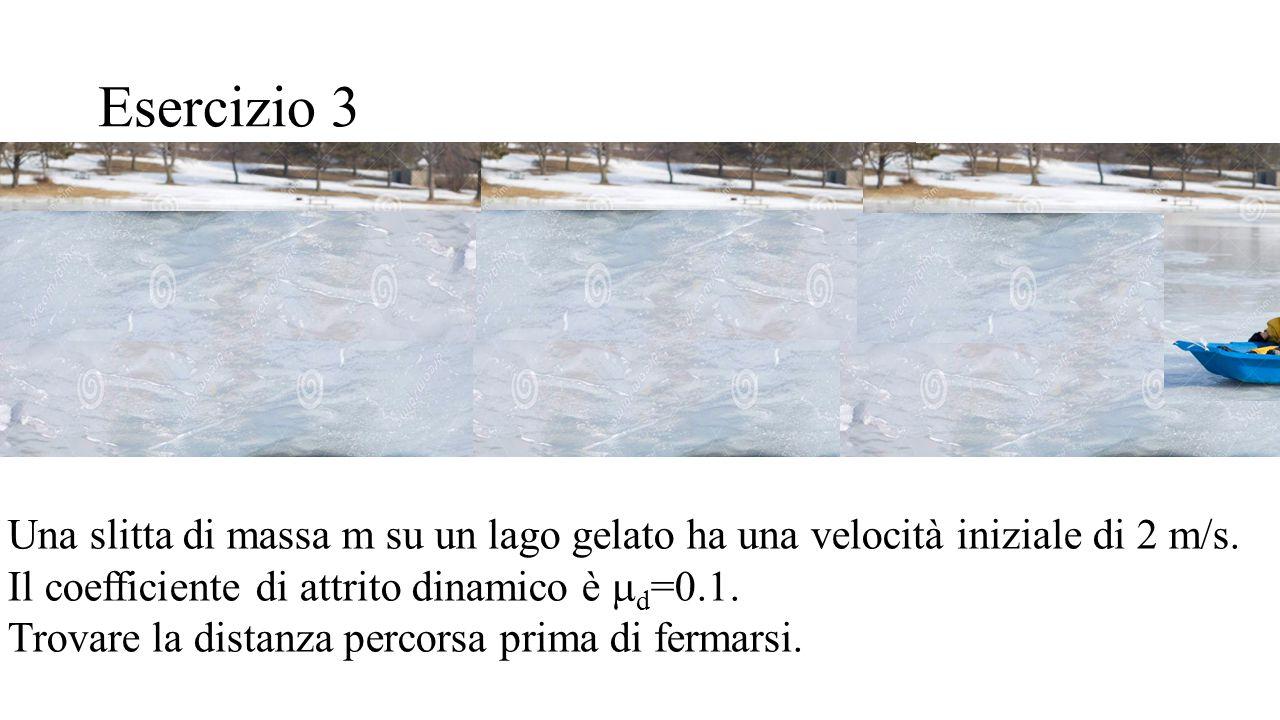 Esercizio 3 Una slitta di massa m su un lago gelato ha una velocità iniziale di 2 m/s. Il coefficiente di attrito dinamico è  d =0.1. Trovare la dist