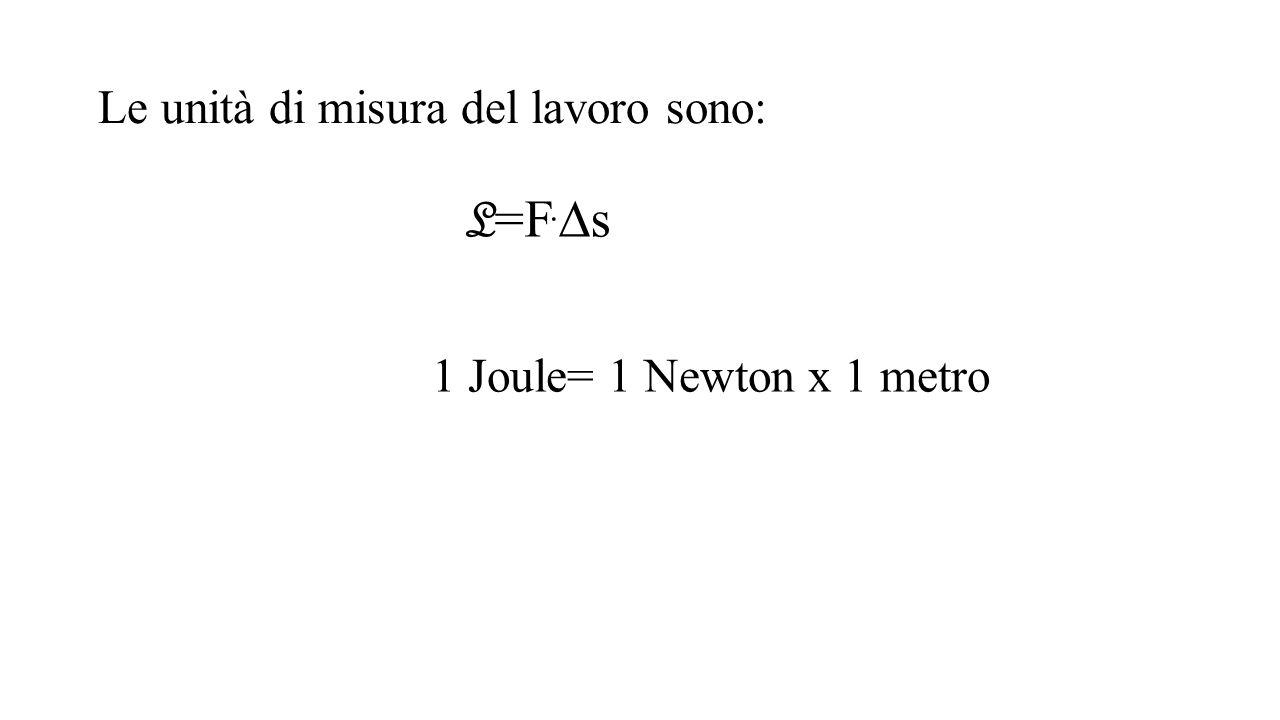 Le unità di misura del lavoro sono: L =F.  s 1 Joule= 1 Newton x 1 metro