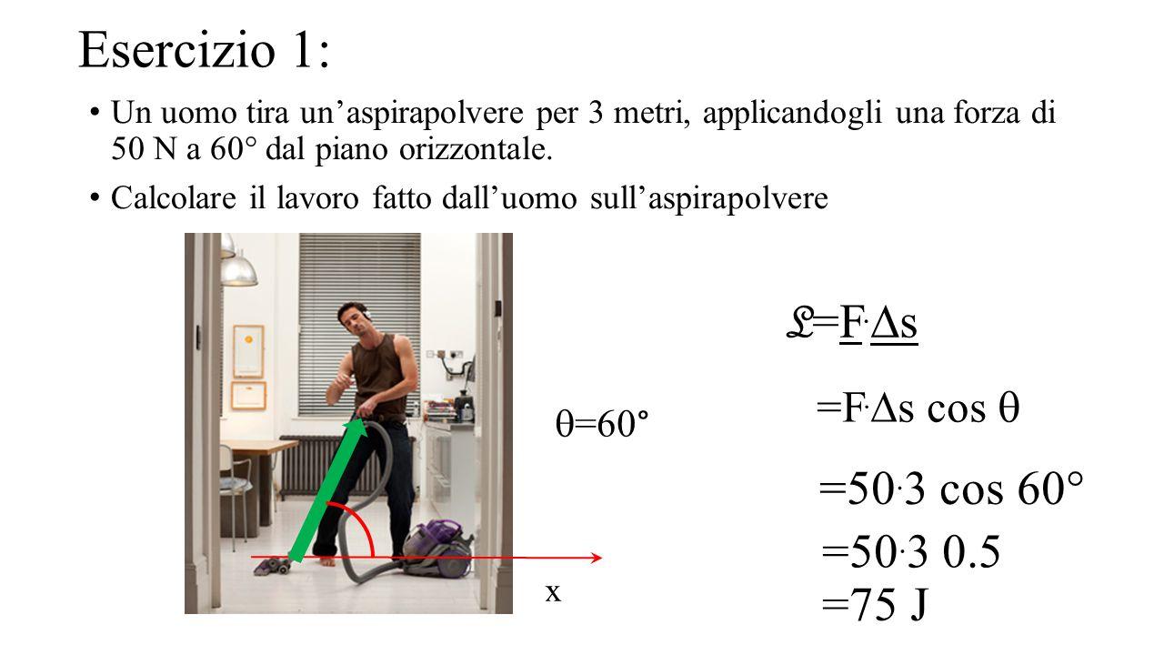 Esercizio 1: Un uomo tira un'aspirapolvere per 3 metri, applicandogli una forza di 50 N a 60° dal piano orizzontale. Calcolare il lavoro fatto dall'uo