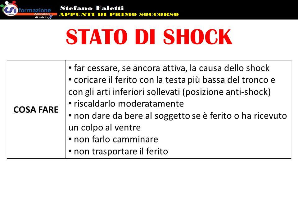 STATO DI SHOCK COSA FARE far cessare, se ancora attiva, la causa dello shock coricare il ferito con la testa più bassa del tronco e con gli arti infer