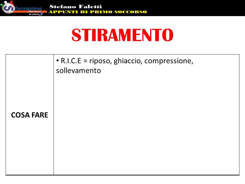 STIRAMENTO COSA FARE R.I.C.E = riposo, ghiaccio, compressione, sollevamento