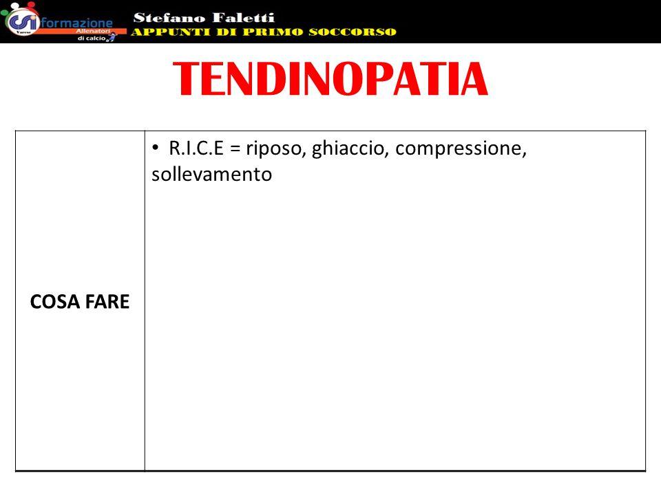 TENDINOPATIA COSA FARE R.I.C.E = riposo, ghiaccio, compressione, sollevamento