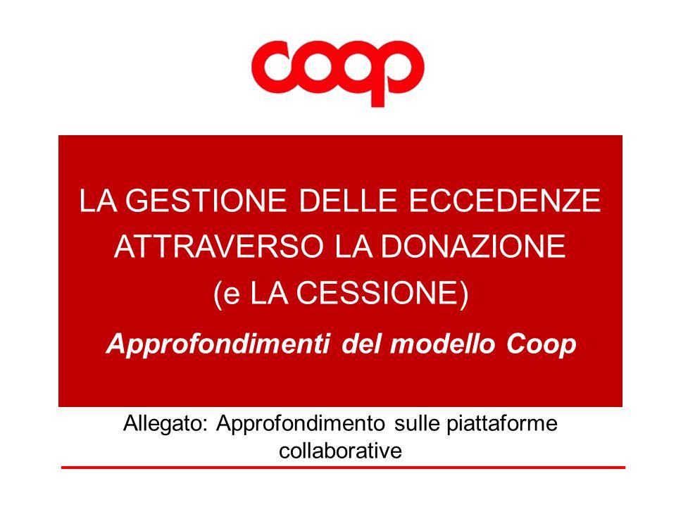 LA GESTIONE DELLE ECCEDENZE ATTRAVERSO LA DONAZIONE (e LA CESSIONE) Approfondimenti del modello Coop Allegato: Approfondimento sulle piattaforme collaborative