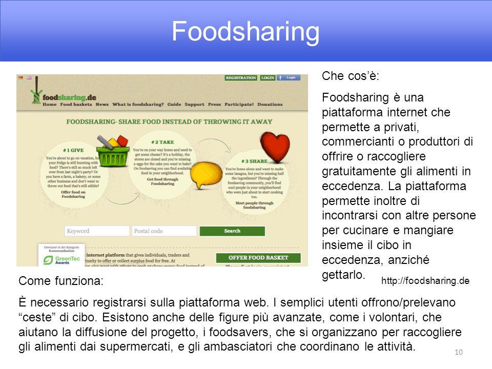 Foodsharing 10 Che cos'è: Foodsharing è una piattaforma internet che permette a privati, commercianti o produttori di offrire o raccogliere gratuitamente gli alimenti in eccedenza.