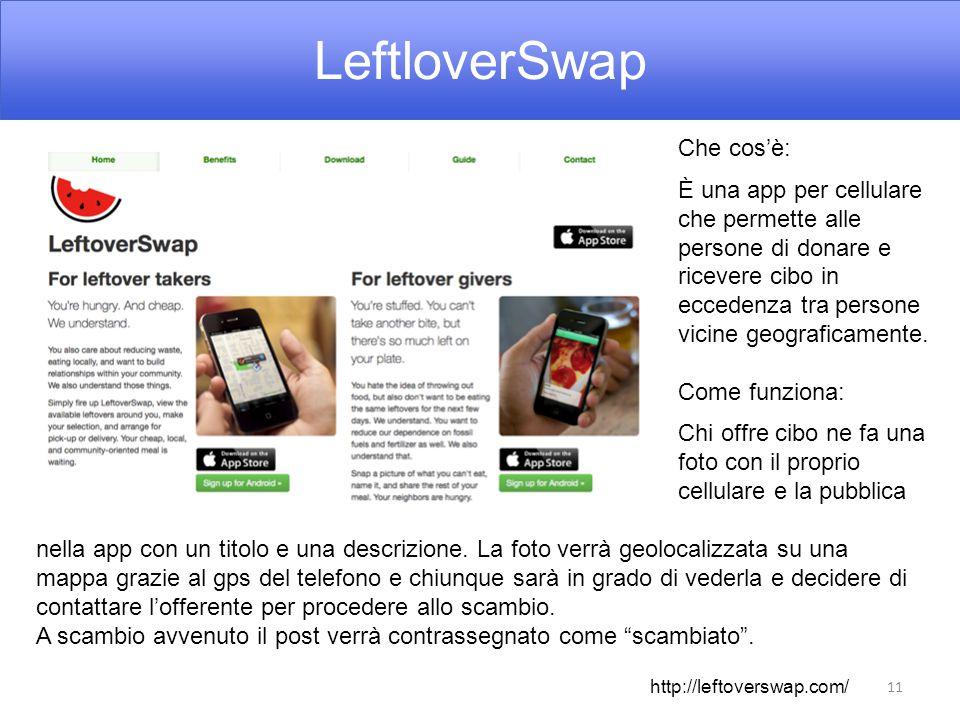 LeftloverSwap 11 Che cos'è: È una app per cellulare che permette alle persone di donare e ricevere cibo in eccedenza tra persone vicine geograficamente.