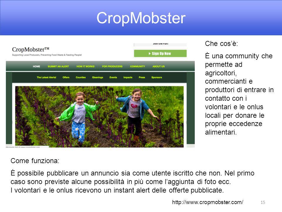 CropMobster 15 Che cos'è: È una community che permette ad agricoltori, commercianti e produttori di entrare in contatto con i volontari e le onlus locali per donare le proprie eccedenze alimentari.