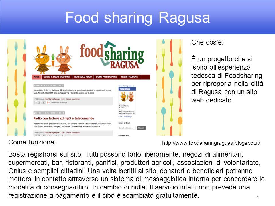 Food sharing Ragusa 8 Che cos'è: È un progetto che si ispira all'esperienza tedesca di Foodsharing per riproporla nella città di Ragusa con un sito web dedicato.